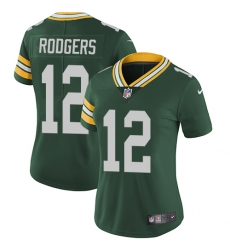 Women's Nike Green Bay Packers #12 Aaron Rodgers Green Team Color Vapor Untouchable Limited Player NFL Jersey