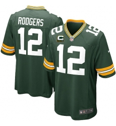 Youth Nike Green Bay Packers #12 Aaron Rodgers Elite Green Team Color C Patch NFL Jersey
