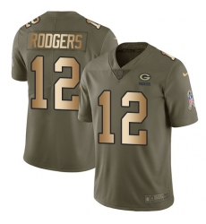 Youth Nike Green Bay Packers #12 Aaron Rodgers Limited Olive/Gold 2017 Salute to Service NFL Jersey
