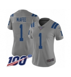 Women's Indianapolis Colts #1 Pat McAfee Limited Gray Inverted Legend 100th Season Football Jersey